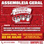 Sintepe promove Assembleia Geral Avaliativa nesta quarta-feira (03)